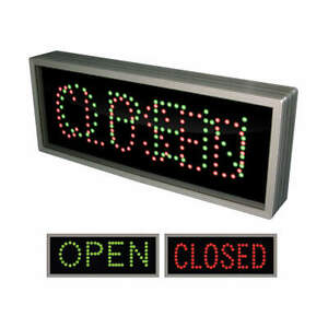 Tapco Led Sign open closed green Or Red black 108968