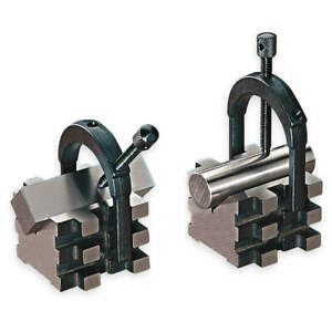 Starrett Hardened Steel V blocks matched Pair W clamps 2 In 568c