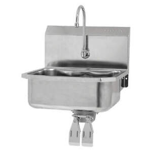 Sani lav Hand Sink with Faucet 19 In L 18 In W 505l Silver