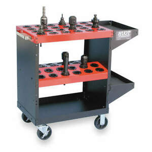 Huo Cnc Toolscoot 40 Taper 48 Tool 35 1 4x35 13940 Black Cart With Red Shelves
