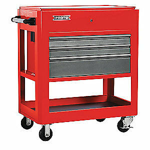 Proto Steel Tool Utility Cart 43 H 3 Drawers J559000 3sg Red