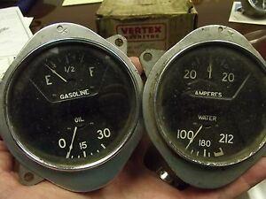 A c Vintage Two Gauge Set Oil Fuel Amp Water Curved Glass 1932 Hot Rod Rat Deuce