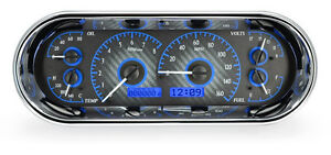 Dakota Digital Universal Oval Analog Gauge System Carbon Fiber Blue Vhx 1018 c b