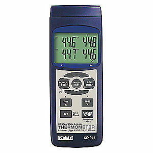 Reed Instruments Tc Thermometer data Logger k j r s e t Sd 947