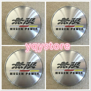 4x Set 3d Chrome Jdm Honda Civic Mugen Power Accord Wheel Center Hub Caps 60mm