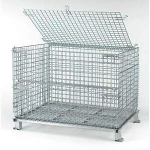 Nashvil Steel Wire Mesh Collapsible Container 48 In W silver C404830s4l Silver
