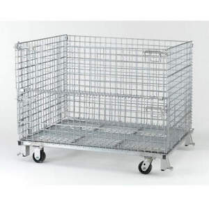 Nashvil Steel Wire Mesh Collapsible Container 48 In W silver C404824s4c Silver