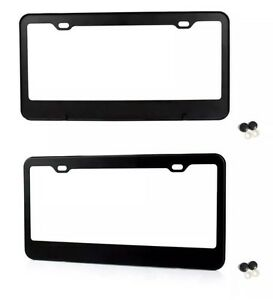 2x Black Stainless Steel Metal License Plate Frame Tag Cover Screw Caps