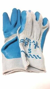 New 12 Pair atlas Fit 300 Blue Natural Rubber Palm Knit Gloves Size Small