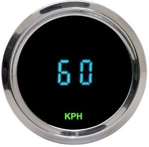 Dakota Digital Universal Round Mini Kph Speedometer Gauge Teal Display Odyr 01 4