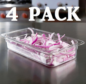 4 Pack 1 3 Size Commercial Clear Plastic Steam Prep Table Food Pan 2 1 2 Deep
