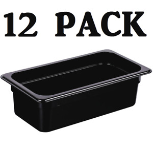 12 Pack 1 3 Size Polycarbonate Black Plastic Steam Prep Table Food Pan 4 Deep