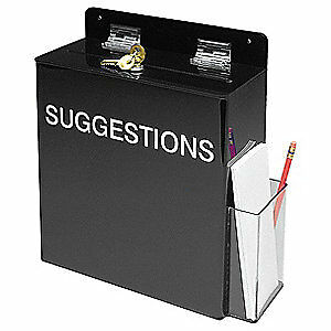 Brady Acrylic Prinzing Suggestion Box Mc111e White On Black
