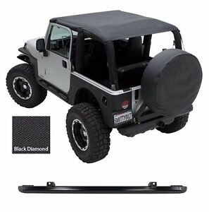 Smittybilt Extended Top header Channel For 97 06 Jeep Wrangler Tj Black Diamond