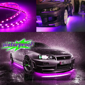 Universal Pink Purple Led Strip Under Car Glow Underbody System Neon Light Kit Q