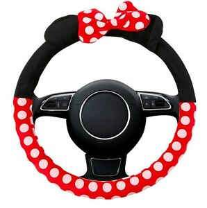New Minnie Mouse Steering Wheel Cover Mickey Plush Cartoon Bow Car Interior