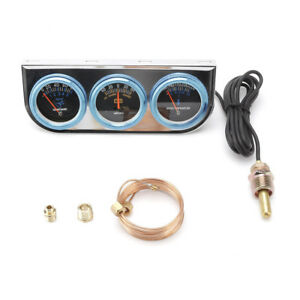 2 52mm Universal Amp Oil Pressure Water Temp Triple Gauge Meter Set Gauge Kit