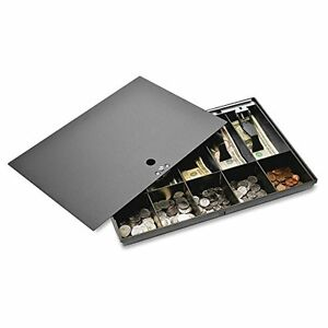 Sparco Money Cash Boxes Tray With Locking Cover 2 1 4 Inches Black spr15505