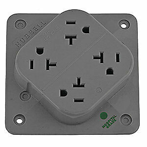 Hubbell Wiring Dev Nylon Receptacle 20a quad Outlet flush Mount Hbl420hgy Gray