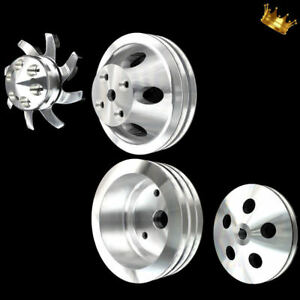 Billet Small Block Chevy Full Pulley Set Billet Fits 327 350 383 400 Sbc Long Wp