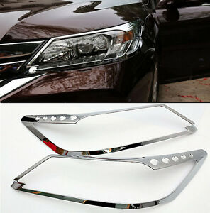 For Honda Accord 2013 2014 2015 Abs Chrome Front Head Light Lamp Cover Trim 2pcs
