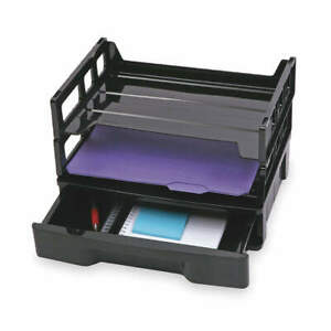 Officemate Plastic File Holder letter 2 Horiz 1 Drawer 26094 Black
