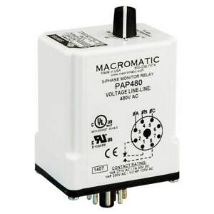 Macromatic Phase Monitor Relay 208vac plug spdt Pap208