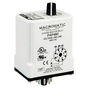 Macromatic 3 Phase Monitor Relay spdt 480vac 8 Pin Pap480