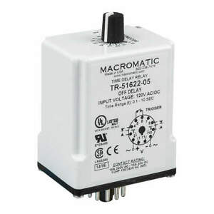 Macromatic Time Delay Relay 120vac dc 10a dpdt Tr 51622 08