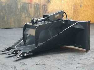 New Heavy Duty Skid Steer Stump Bucket W teeth grapple 48 Inch bobcat kubota etc