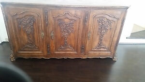 Antique 18th C French Buffet With Carved Doors Solid French Oak