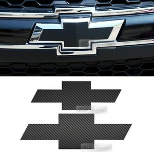 Front Rear Black Carbon Bowtie Emblem Decal Sticker For Chevy 2011 2018 Captiva