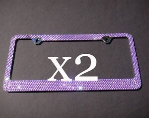 2 Pcs 7 Rows Purple Bling Diamond Crystal Metal License Plate Frame caps