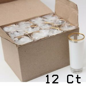 Blank Dye Sublimation Shot Glass 3oz Large 12 Units With Gold Rim