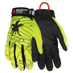 Mcr Safety Cut Resistant Gloves a9 l pr Ml300al Black High Visibility Yellow