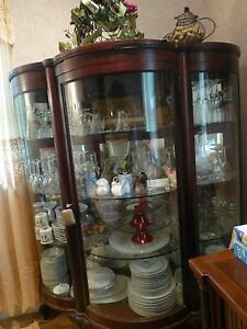 Vintage Red Mahogany Curved Glass China Cabinet Made By Alfred A Campbell Butle