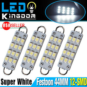 4x 6000k White 44mm Festoon 12 Smd Rigid Loop Led Interior Dome Map Light Bulbs