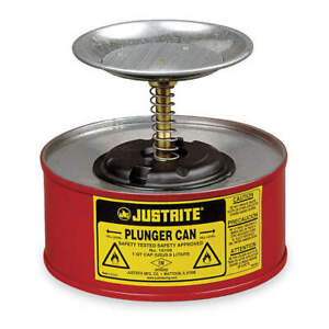 Justrite Plunger Can 1 Qt galvanized Steel red 10108