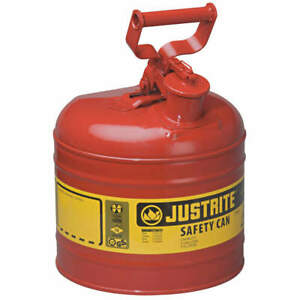 Justrite Type I Safety Can 2 Gal red 13 3 4in H 7120100
