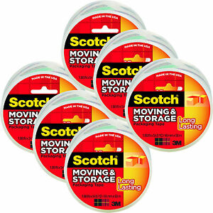 Scotch Moving Storage Long Lasting Packaging Tape 1 88 In X 54 6 Yd 6 Rolls