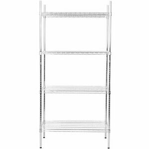 Heavy Duty 24 X 36 X 74 Rack Silver Chrome Wire Storage Shelf Kit Commercial