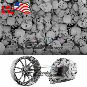 19 x38 Hydrographic Film Hydro Dipping Water Transfer Black Skull Skeleton 13
