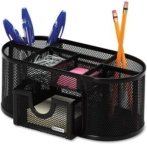 8 Compartment Pencil Cup Office Organizer Black Mesh Pen Post It Clip Holder New