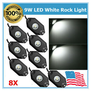 8pcs White Color 9w Led Rock Light Fits Jeep Offroad 4wd Under Body Trail Rig