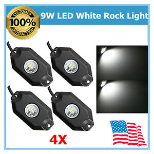 4x 9w Pods White Led Rock Light For Under Car Lights For 4x4 Truck Jeep Boat Us