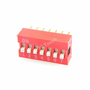 100pcs 2 54mm Pitch 7 bit 7 Positions Ways Slide Type Red Switch Dip 14