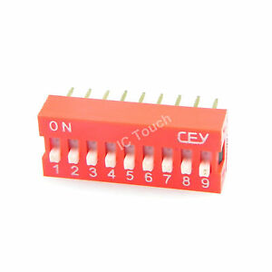 100pcs 2 54mm Pitch 9 bit 9 Positions Ways Slide Type Red Switch Dip 18
