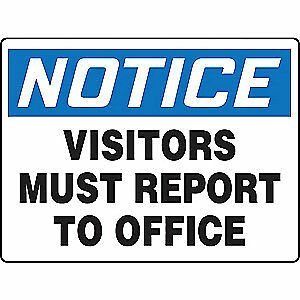 Accuform Notice Sign visitors Report Office 24x36 Madc835vp