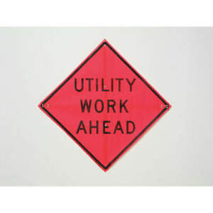 Usa si Road Construction Sign 36 h 36 w mesh C 36 emo 3fh hd Utility Work Ahead