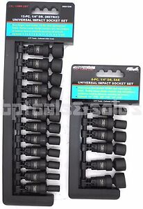 18pc 1 4 Drive Universal Ball Swivel Deep Impact Socket Set Metric Sae